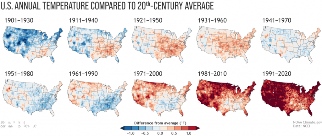 Annual U.S. temperature compared to the 20th-century average for each U.S. Climate Normals period from 1901-1930 (upper left) to 1991-2020 (lower right). (NOAA NCEI)