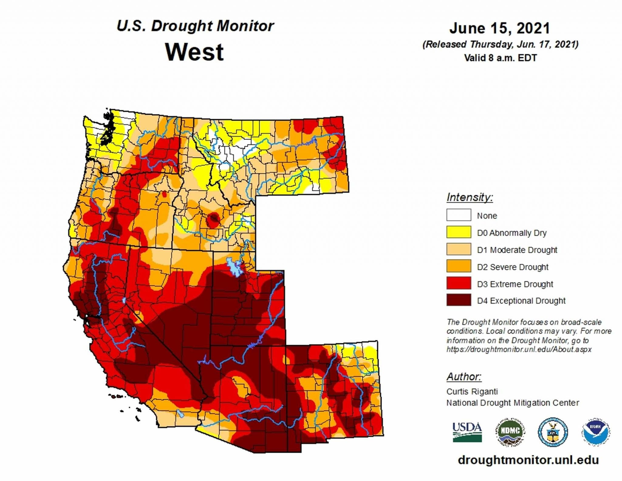 US Drought Monitor Map reveals extreme or exceptional drought throughout the West.